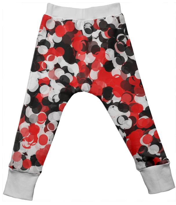 Red and Black Paint Ball Kids Drop Pants