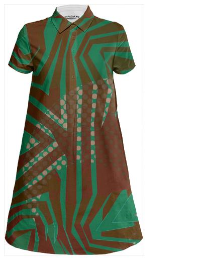Beautiful Green Burgundy Tribal Mini Shirt Dress