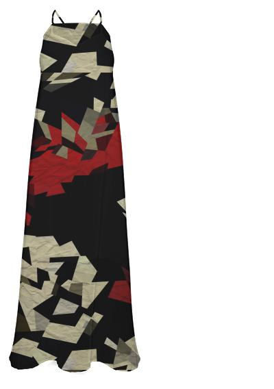 Black Red Abstract Chiffon Maxi Dress