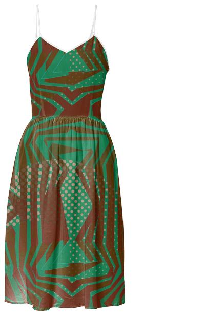 Green Burgundy Tribal Pattern Summer Dress