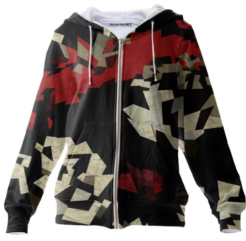Red Black Chopped Abstract Zip Hoodie