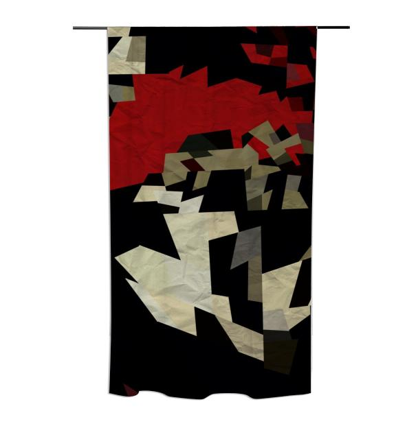 Red Black Chopped Abstract Curtain