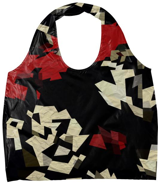 Red Black Chopped Abstract Eco Tote