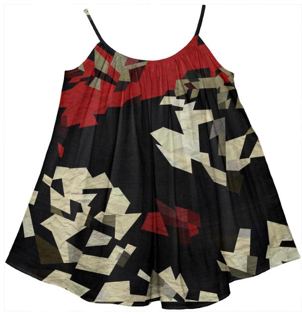 Red Black Chopped Abstract Girl s Tent Dress