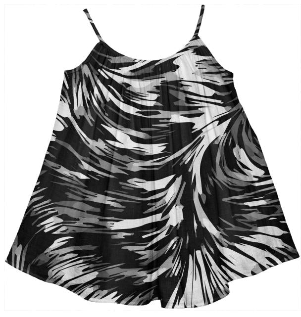 Black White Abstract Girl s Tent Dress