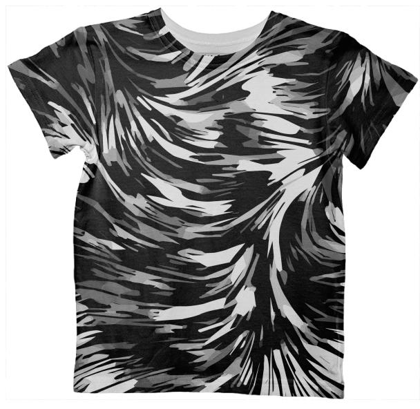 Black White Abstract AOP Kid s Tshirt