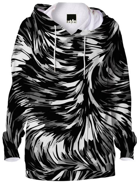 Black White Abstract AOP Hoodie