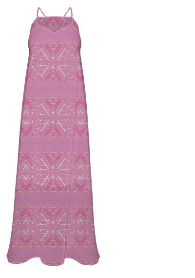 Beautiful Pink Tribal Pattern Chiffon Maxi Dress