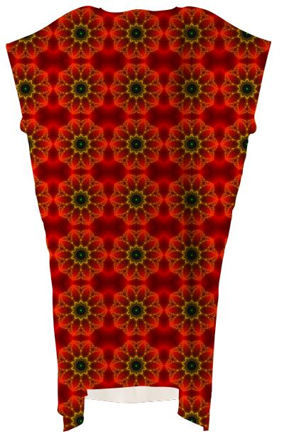 Glowing Red Fractal Flower VP square dress