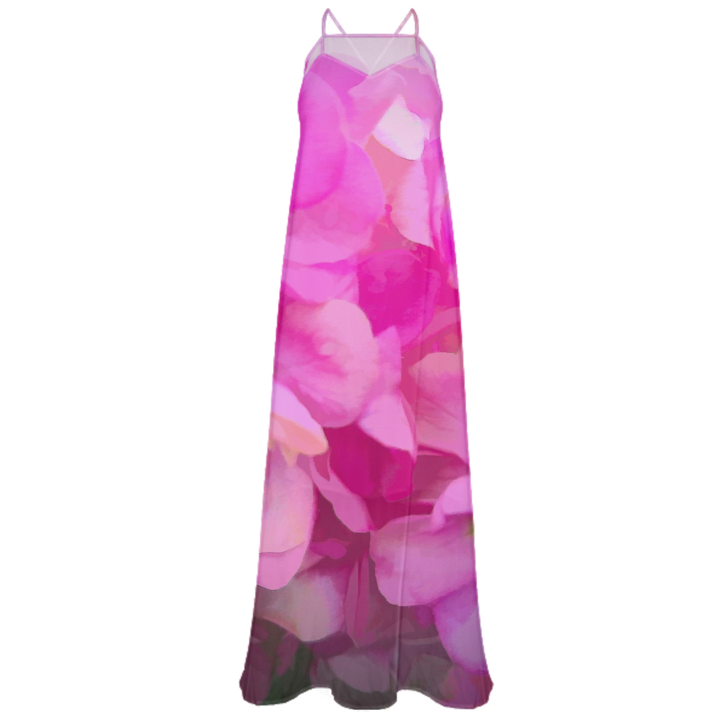 Pink Flower Background Chiffon Dress