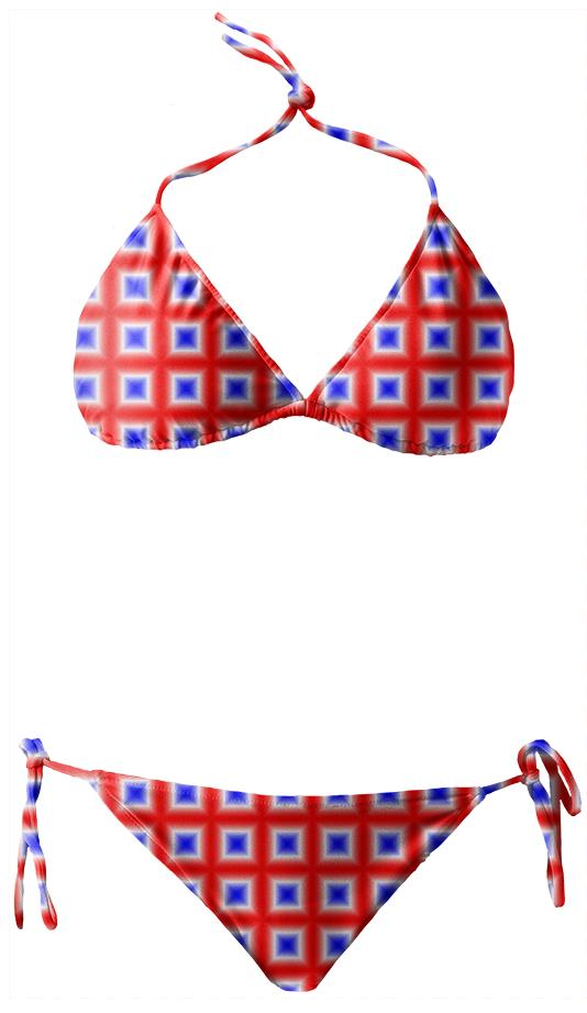 Red White Blue Square Patterned Bikini
