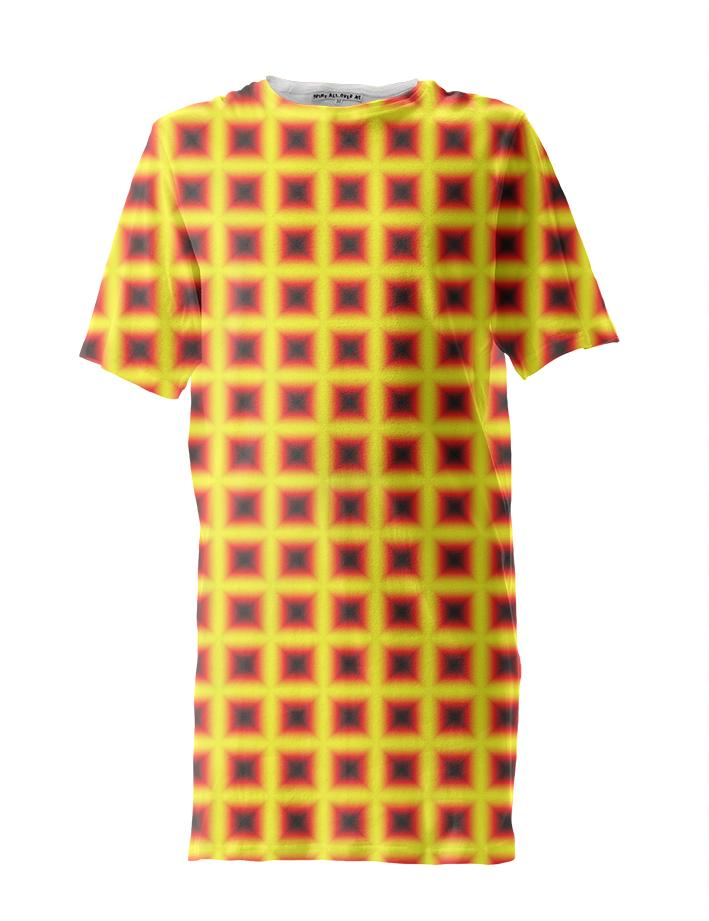 Yellow Red Black Square Patterned Tall Tee