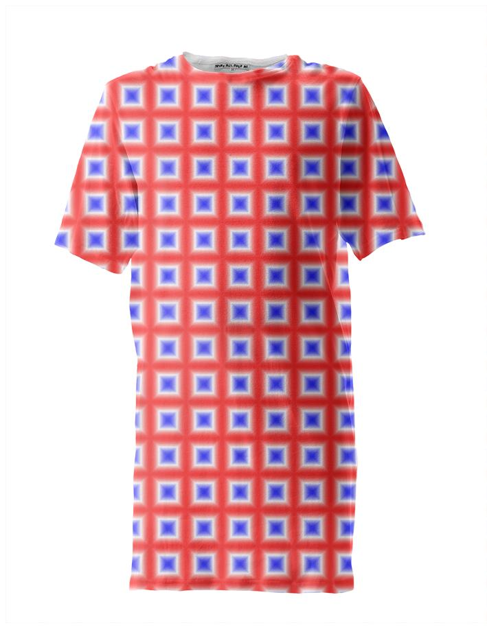 Red White Blue Square Patterned Tall Tee