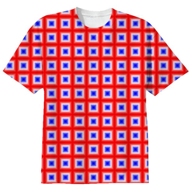 Red White Blue Square Patterned T Shirt