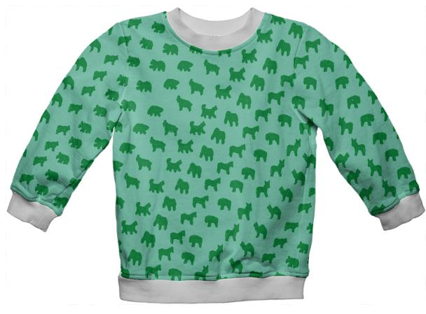PAOM, Print All Over Me, digital print, design, fashion, style, collaboration, muffybrandt, Kids Sweatshirt, Kids-Sweatshirt, KidsSweatshirt, Kid, Animal, Cracker, Mint, and, Basil, Muffy, Brandt, autumn winter spring summer, unisex, Poly, Kids