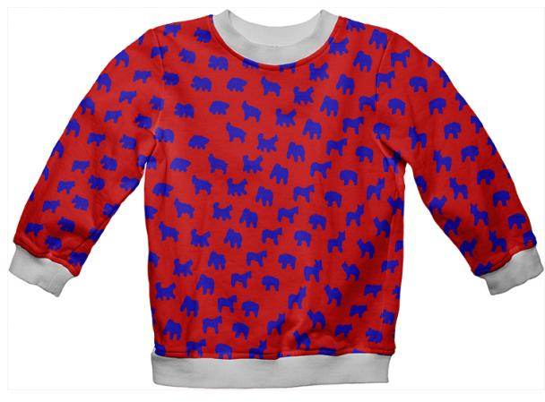 Kid s Animal Cracker Sweatshirt In Strawberry and Bright Blue by Muffy Brandt