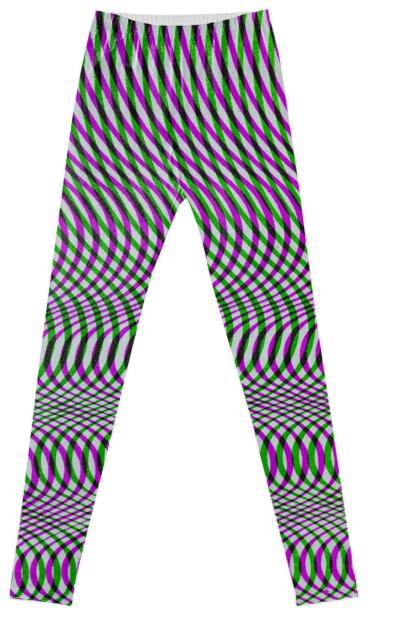 Wavy Op Art Leggings in Green and Purple by Muffy Brandt