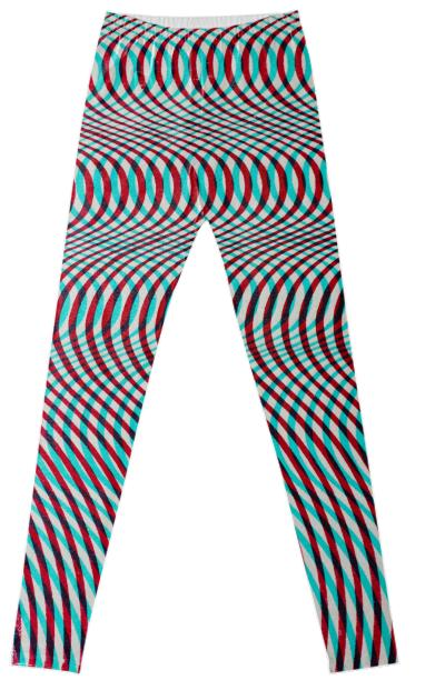 Wavy Op Art Leggings in Rust and Blue by Muffy Brandt