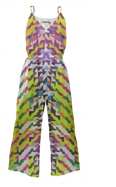 Curvy Geometric Tie Waist Jumpsuit in Yellow by Muffy Brandt