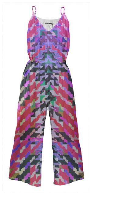 PAOM, Print All Over Me, digital print, design, fashion, style, collaboration, muffybrandt, Tie Waist Jumpsuit, Tie-Waist-Jumpsuit, TieWaistJumpsuit, Curvy, Geometric, Red, Muffy, Brandt, autumn winter spring summer, unisex, Poly, One Piece