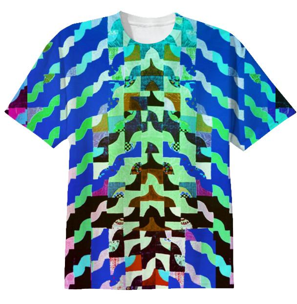Curvy Geometric T shirt in Blue by Muffy Brandt
