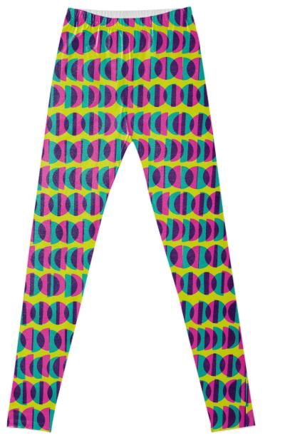 Half Moon Leggings in Pink Yellow and Blue by Muffy Brandt