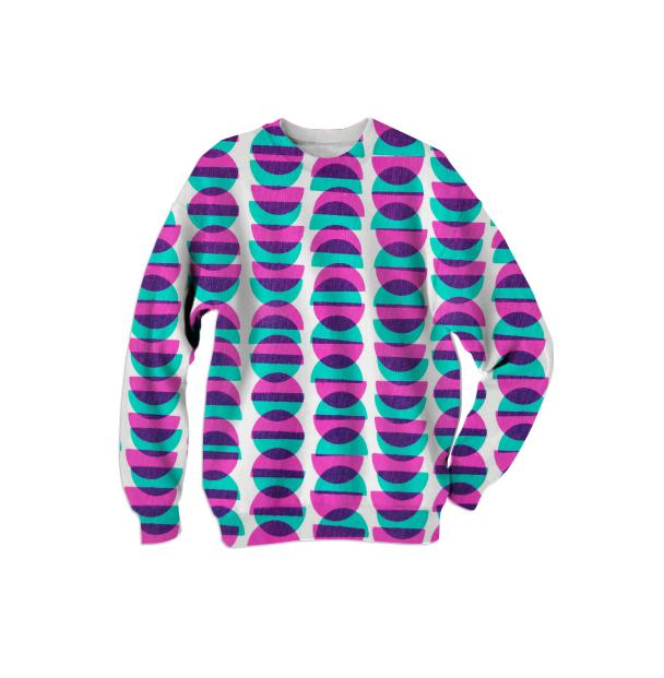 Half Moon Sweatshirt in Pink and Blue by Muffy Brandt