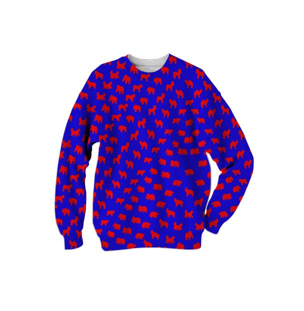 Animal Cracker Sweatshirt in Bold Blue and Fire Engine Red by Muffy Brandt