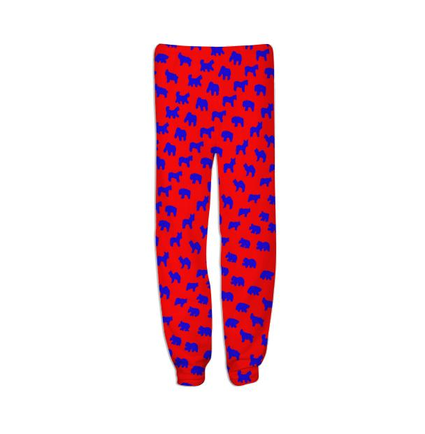 Animal Cracker Sweats in Red and Bright Blue by Muffy Brandt