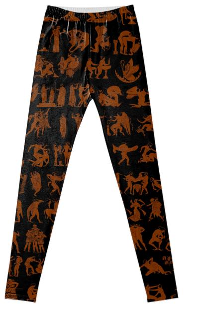 Sexy Greek Print Fancy Leggings in Terra Cotta and Black by Muffy Brandt
