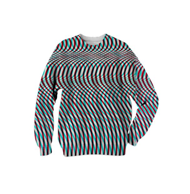 Wavy Op Art Sweat Shirt in Blue and Rust by Muffy Brandt