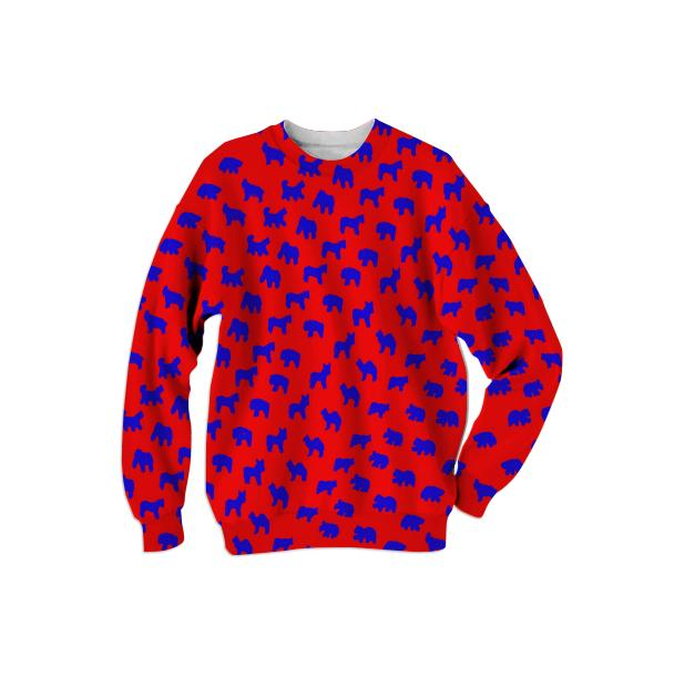 Animal Cracker Adult Sweatshirt in Red and Bold Blue by Muffy Brandt