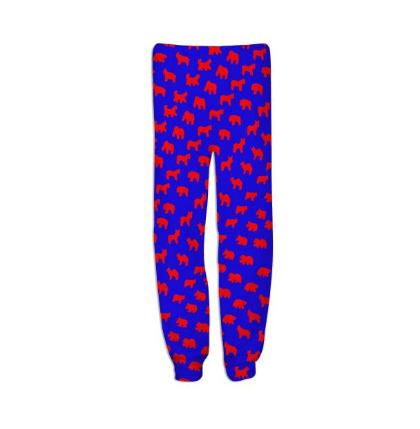 Animal Cracker Sweats in Bright Blue and Red by Muffy Brandt