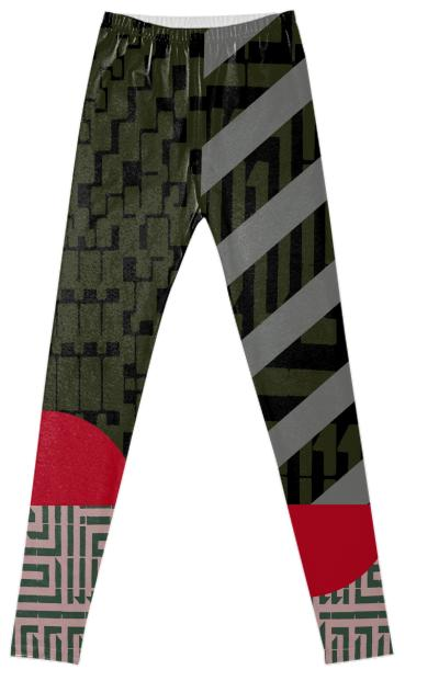 Geometric Labyrinth Leggings in Miliary Green by Muffy Brandt