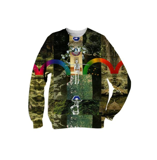 Happy Forever Rainbows and Skeletons Sweatshirt by Muffy Brandt