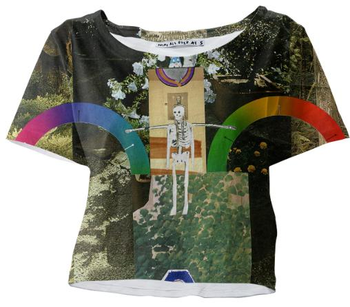 PAOM, Print All Over Me, digital print, design, fashion, style, collaboration, muffybrandt, Crop Tee, Crop-Tee, CropTee, Happy, Forever, Rainbows, and, Skeletons, Top, Muffy, Brandt, spring summer, unisex, Poly, Tops