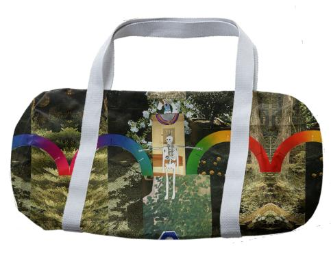 Happy Forever Rainbows and Skeletons Duffel Bag by Muffy Brandt