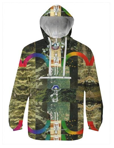 PAOM, Print All Over Me, digital print, design, fashion, style, collaboration, muffybrandt, Windbreaker, Windbreaker, Windbreaker, Happy, Forever, Rainbows, and, Skeletons, Muffy, Brandt, spring summer, unisex, Poly, Outerwear
