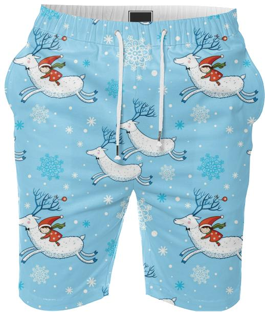 Blue Reindeer Christmas Pattern