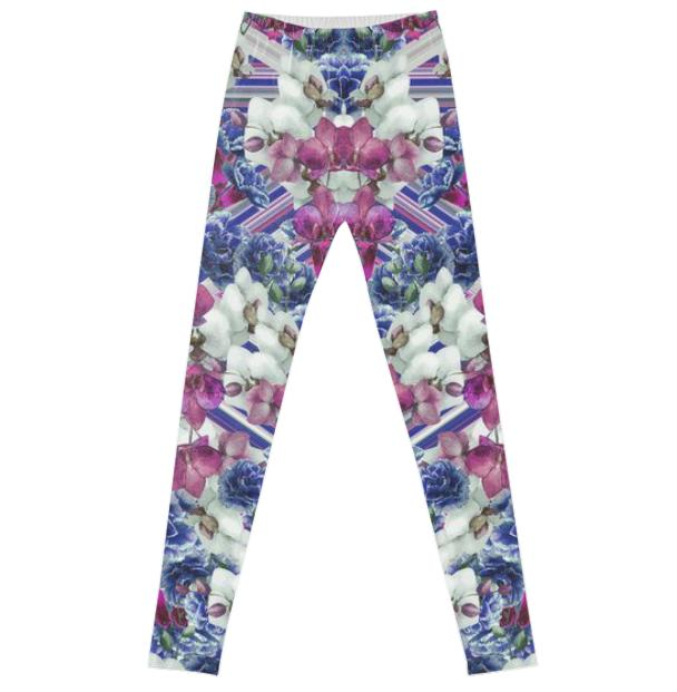 Woven Orchids White Leggings