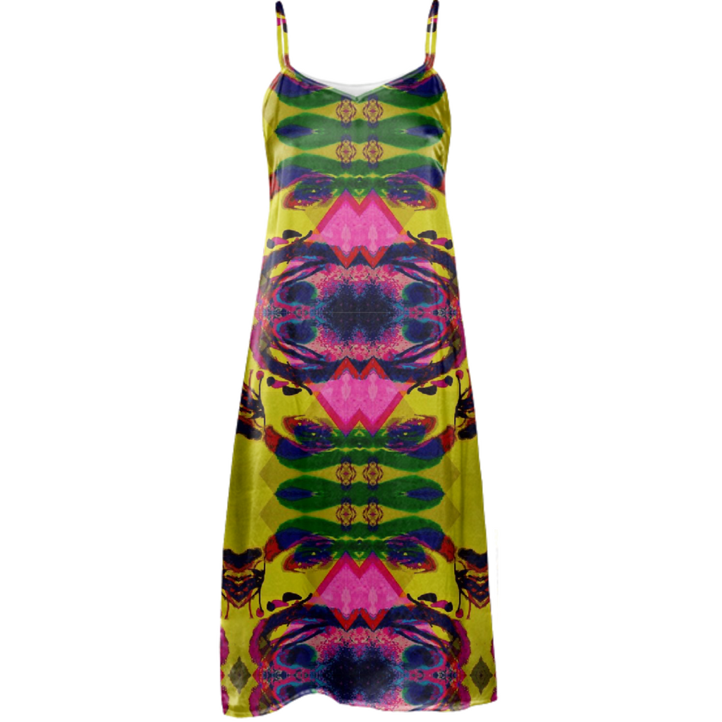 Yellow Draco Ikat silk dress 2