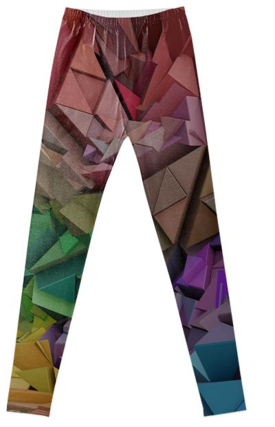 Colorful 3d Low Poly Abstract Blocks Fancy Leggings