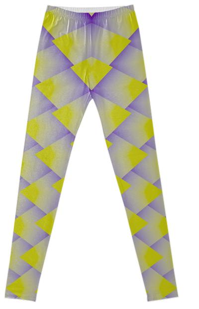 Yellow Purple 3D Pyramids Fancy Leggings
