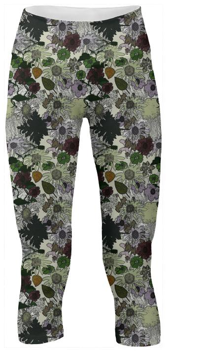 White Garden Yoga Pants
