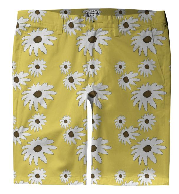 White Daisy Trouser Shorts