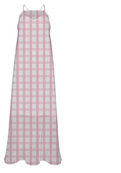 Pink Gingham Chiffon Maxi Dress