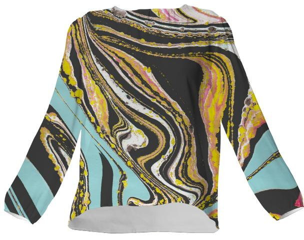 Wavy Marbled VP Silk Top