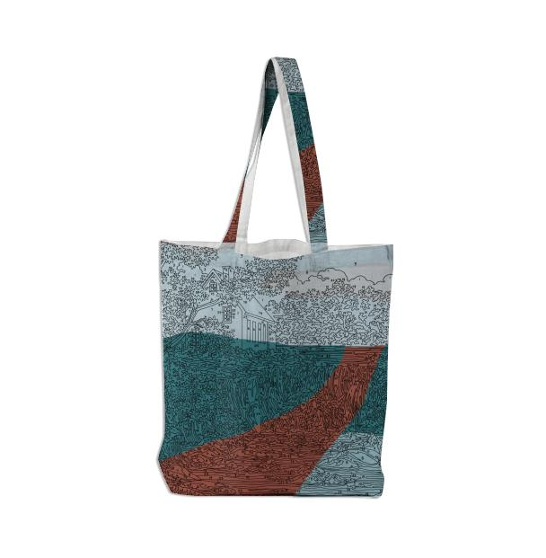 PAOM, Print All Over Me, digital print, design, fashion, style, collaboration, trey-speegle, trey speegle, Tote Bag, Tote-Bag, ToteBag, Abstract, Waterfall, road, autumn winter spring summer, unisex, Poly, Bags