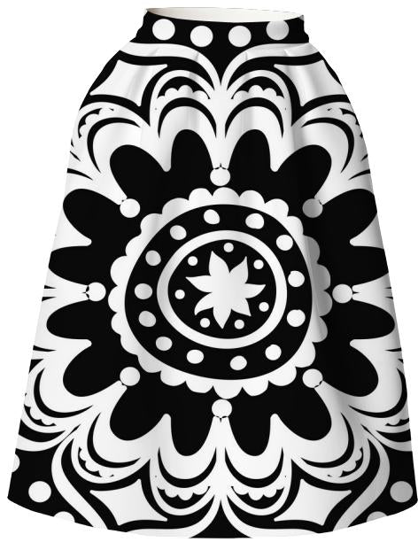 Black and White mandala skirt