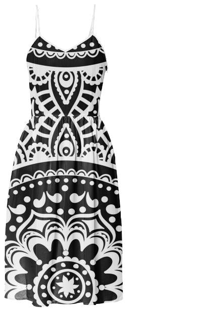 Black and White Mandala summer dress
